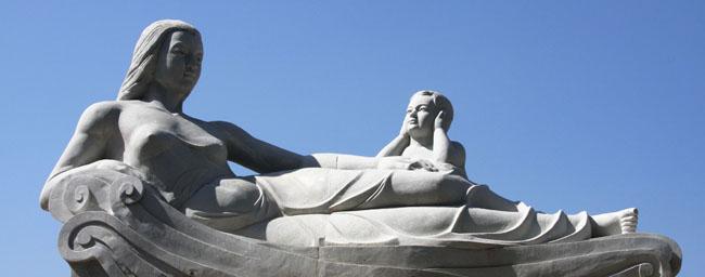 黄河母亲雕塑手绘